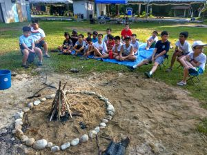 Classroom session, how to make a camp fire